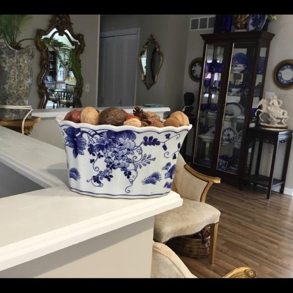 Blue & White Stoneware Bowl & Fruit & Nuts